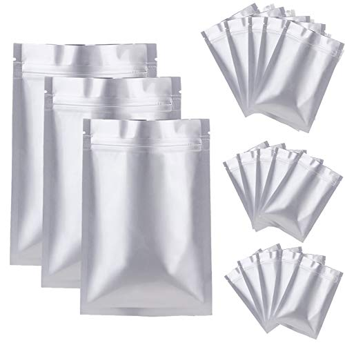 30 Pack 3 Sizes Mylar Aluminum Foil Bags, Metallic Smell Proof Ziplock Packaging bags Heat Sealable Foil Pouch for Food Coffee Tea Beans Long Term Food Storage(6 x 9 Inch, 7 x 10 Inch, 8 x 11 Inch)