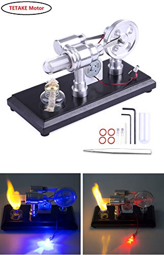 TETAKE Stirlingmotor Bausatz Äußere Verbrennung 2 Zylinder Stirlingmotor mit Generator Sterling Motoren Stirling Engine kit für Technikinteressierte Bastler