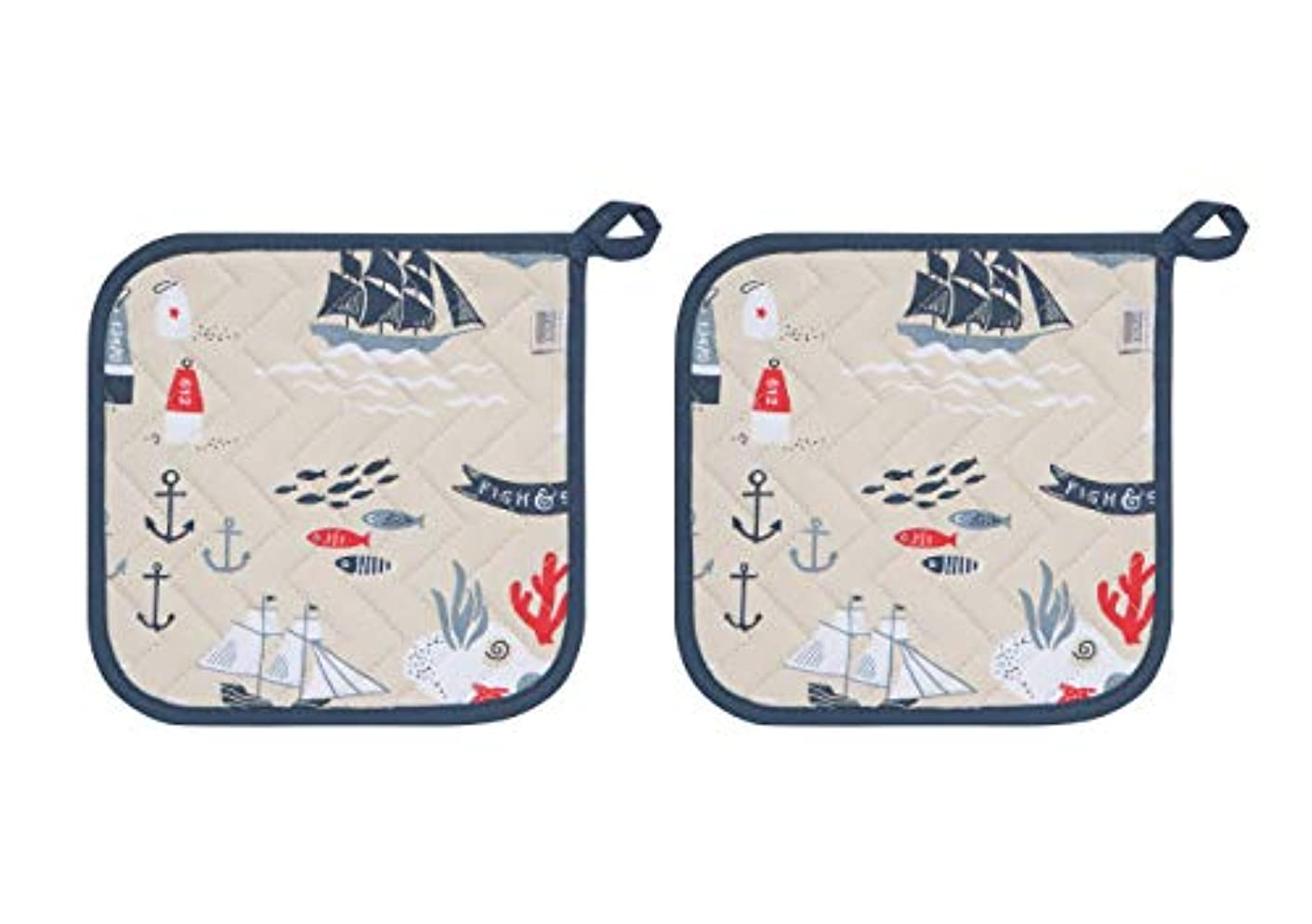 Now Designs Potholders Basic, Fish and Ships Print