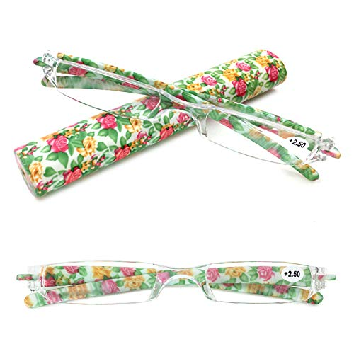 VEVESMUNDO Lesebrillen Damen Herren Kompakte Mini Brillen Sehstärke Schmal Tragbare Modern Leichte Randlos Sehhilfe Lesehilfen Blumen Gitter Transparent mit Brillenetui (1 Stück Grün Blumen, 2.0)