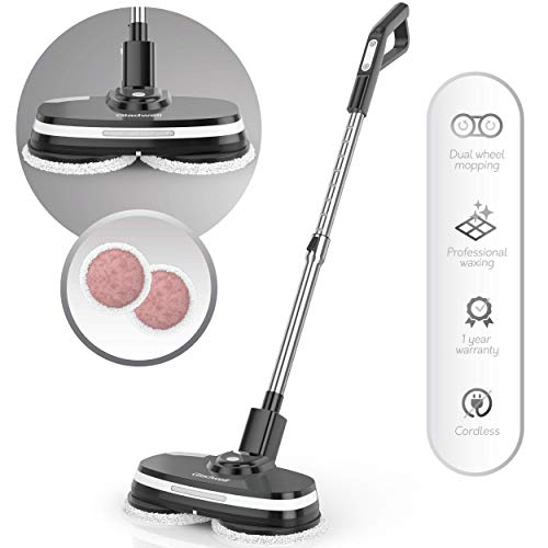 Gladwell Cordless Electric Mop - 3 in 1 Spinner, Scrubber, Waxer Quiet, Powerful Cleaner Spin Scrubber & Buffer, Polisher for Hard Wood, Tile, Vinyl, Marble, Laminate Floor - Black