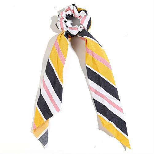 Bufanda larga de rayas, accesorios para el cabello para mujer, pañuelo suave, soporte para cola de caballo, bandas elásticas para el cabello para niña, venta al por mayor