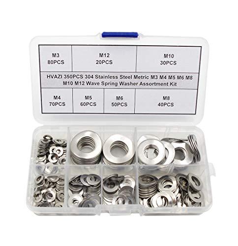 HVAZI 350PCS Metric M3 M4 M5 M6 M8 M10 M12 304 Stainless Steel Wave Spring Washer Assortment Kit