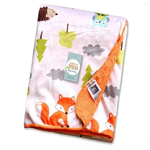 Mariisay Couverture De Bébé En Flanelle Cartoon Casual Chic Fox Pattern Blanket Baby Carrier First Blanket Kids Coveret 41X30 Pouces (Color : Colour, Size : Size)