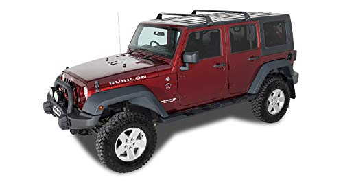 Rhino-Rack Aero Bar 4WD SUV Roof Racks | Gutter Mount Base Rack for Jeep Wrangler JK/JL, JT Gladiator; 4 Door Hard Top 2011 - 2020 (2 Set) in Black; Easy Use & Fitment