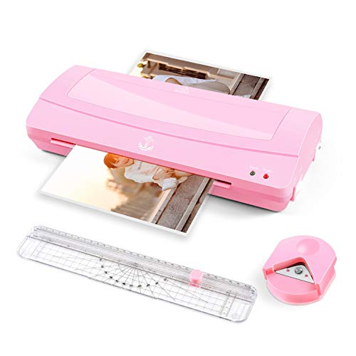 Thermal Laminator Machine, 12 inches Wide (A3 A4 A6), Never Jam Technology, with Paper Trimmer, Corner Rounder, 2 Roller System, Pink