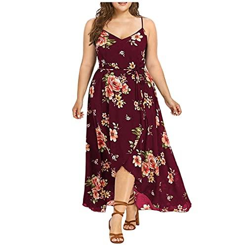 Vestido de talla grande para mujer, Outtop con correa de espagueti sin mangas, estampado de flores boho suelto asimétrico largo maxi vestido, 4X-Large, B-negro