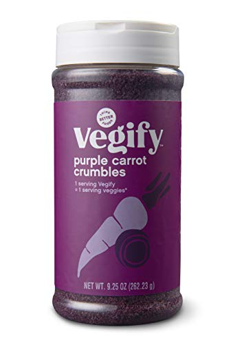 VEGIFY Purple Carrot Veggie Crumbles | Add a serving of veggies to salads, meats, pasta | Replace croutons, bacon bits, and bread crumbs | Vegan, gluten free, high fiber | 9.25 oz Bottle