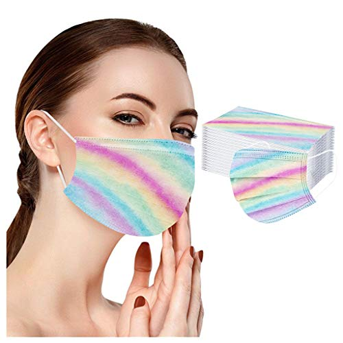 LiLiMeng Adult Gradient Rainbow Printing Macks_Coverings Woman Fashion for outdoor and school 50 PCs