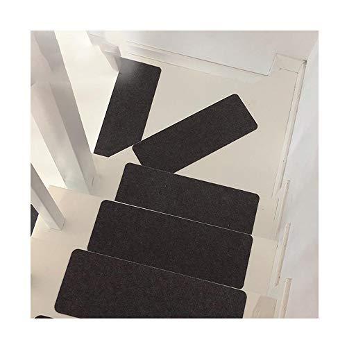 Dyna-Living Tappeti per Scale,Tappeto Scala Antiscivolo,Autoadesiva Tappetino per Scale,Noise Control 55x20x0.2cm Tappetini per Scale,per in Legno/Marmo Coprigradini Nessun. (Grigio Scuro, 14 Pezzi)