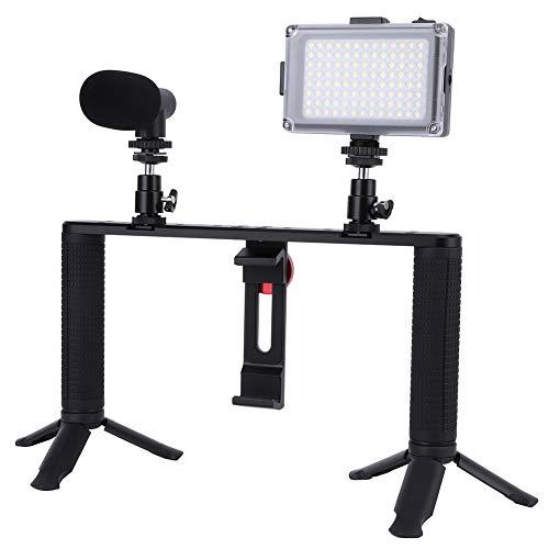 Bindpo Kit de Jaula de Video para teléfono móvil, Marco de filmación de Agarre estabilizador de Mano con micrófono, luz de Relleno y Mini trípode para Vlogs, Selfies, transmisión en Vivo