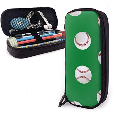 Estuche realista de piel de béisbol 3D con bonito estuche de piel de 8 x 3.5 x 1.5 pulgadas, bolsa de lápices con doble cremallera para escuela, oficina, niñas, niños y adultos