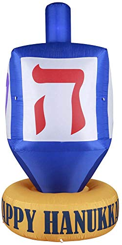Gardenised Giant Hanukkah Inflatable Dreidel-Yard Decor Bulbs, Tie-Down Points, and Powerful Built in Fan, Multicolor
