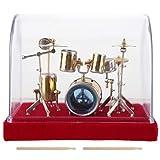 Juego de batería en miniatura Mini decoración para escritorio en casa, kit de modelo de tambor de cobre de metal 3D,con caja de almacenamiento, mini instrumento musical de percusión(18cm)