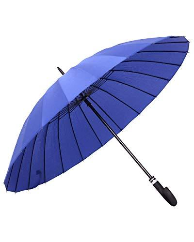 ORIENEX(オリエンネックス) 長傘 レディース傘 高強度24本骨 紳士傘 雨に濡れると花が浮き出る 全14色 (青)