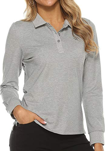 Women's Golf Polo Shirts Long Sleeve Sports Athletic Shirts Performance Tennis Tops Fitness Workout Leisure T-Shirt with Buttons Grey