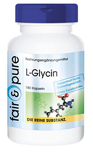 L-Glycin 500mg - vegan - ohne Magnesiumstearat - 180 Glycin-Kapseln