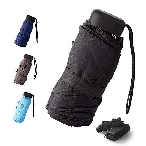 Mini -Schirm Mini Regenschirm - Pocket Taschenschirm -faltender Regenschirm-UV-undurchlässig inkl. Schirm-Tasche & Reise-Etui – klein, leicht & kompak windsicher, stabil (Schwarz)