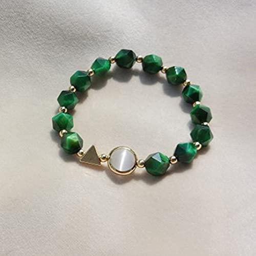 Natural Feng Shui curación Pulsera de Cristal 7a Afortunado Encanto Equilibrio Pulsera Verde Tigre Ojo Piedra Vacaciones joyería Amuleto atrae Dinero Prosperidad Suerte,Single