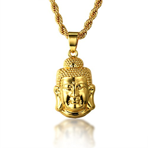 Halukakah ● Gold Bless All ● 18k Real Gold Plated 3D Buddha Pendant Necklace.Double-Faced,with Free Rope Chain 30'