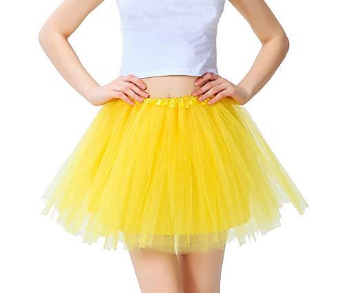 Tutu Damen Tüll Rock Tüllrock 50er 80er Kurz Ballet 3 Layers Tanzkleid Unterröcke Trachtenröcke Zubehör für Frauen Mädchen, 7 Farben (Gelb)