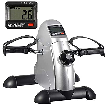 HomGarden Pedal Exerciser Bike Pedals w/LED Screen Display for Legs and Arms Exerciser,Portable Mini Cycle Bike Under Desk Floor Foot Pedal Small Recumbent Equipment Machine