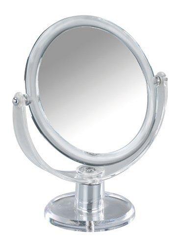 WENKO Kosmetik-Standspiegel Noci rund - klappbar, Spiegelfläche ø 12.5 cm 300 % Vergrößerung, Acryl, 17.5 x 20 x 9 cm, Transparent