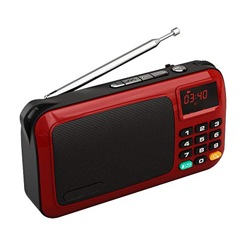 C- Tragbare Mini-FM-Radio-Lautsprecher Musik-Player TF-Karte USB für PC iPod-Telefon mit LED-Anzeige,Rot