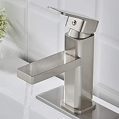 VOTON Brushed Nickel Bathroom Faucet Single Hole,Modern Square Single Handle Bathroom Sink Washbasin Vanity Sink Faucet with Deck