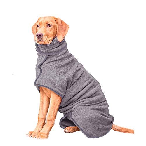 HAPPY HACHI Albornoz para Perros Super Absorbente Microfibra, Toallas Baño para Gatos Secador Pelo Rápido con Cinta Ajustable, Pijamas para Cachorros Mascotas Grandes(XL, Gris)