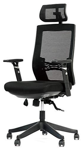 Bürostuhl, Aiidoits Schreibtischstuhl ergonomisch Drehstuhl mit Verstellbarer Kopfstütze, Lendenstütze und Armlehnen, Höhenverstellbarer Gamer Stuhl mit Sitzkissen Chefsessel, 150 kg Belastbarkeit