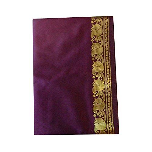 Sari morado brocado dorado vestido tradicional de la India ropa instrucciones para ponérselo tarjeta con bindis