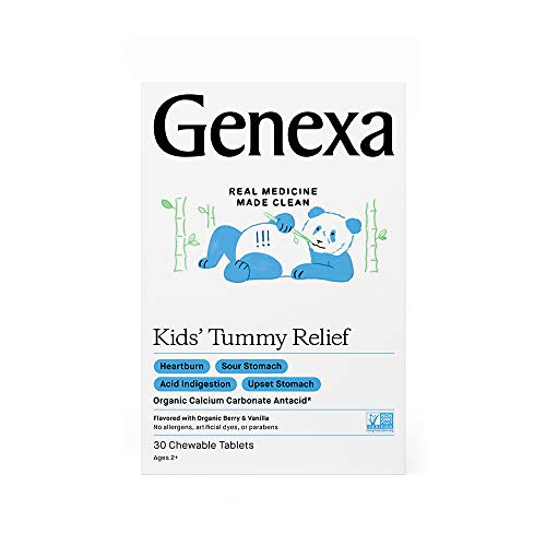 Genexa Kids' Tummy Relief – 30 Chewable Tablets | Calcium Carbonate Antacid, Non-GMO Verified, Certified Gluten-Free & Certified Vegan | Free of Talc & Dyes …