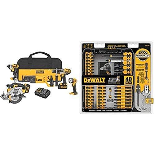 Lowest Prices! DEWALT DCK590L2 20-Volt MAX Li-Ion 3.0 Ah 5-Tool Combo Kit with IMPACT READY FlexTorq Screw Driving Set, 40-Piece