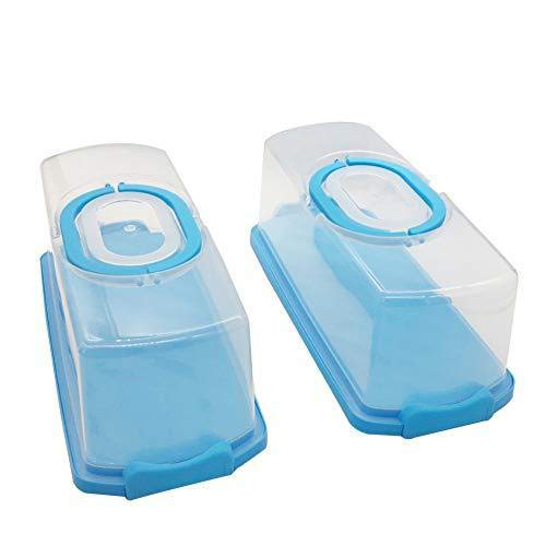 2 Pcs Portable Rectangular Plastic Bread Carrier with Handle and Transparent Lid Loaf Cake for Pastries Bagels Bread Rolls Buns Baguettes Banana Bread Pumpkin Bread 13 Inch (Blue)