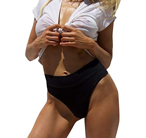 Carolilly Damen Casual Bikinihose Bikini Slip Sommer Unterteile (S, Schwarz)