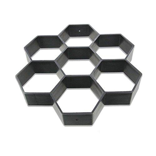 HOMYY Molde hexagonal reutilizable para pavimentar hormigón, piedra escalonada de cemento, losas de cemento, para pavimento, patio, jardín, suelo de camino, 30 x 30 cm, negro