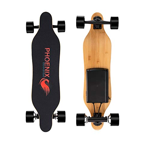 Alouette Phoenix Ryders Electric Skateboard Longboard 16 MPH Top Speed,14 Miles Range,Dual Motors, 32 Inches Maple with Remote Control (Red)