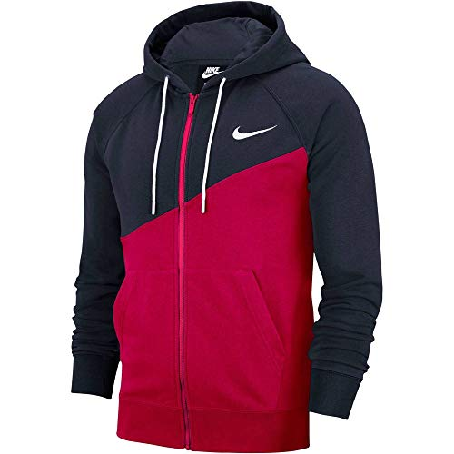 Nike Herren NSW Swoosh Fz Ft Hoodie, University Red/Obsidian/White, L