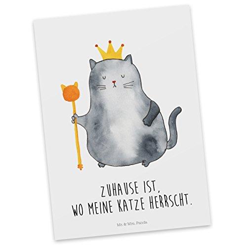 Mr. & Mrs. Panda Ansichtskarte, Geschenkkarte, Postkarte Katzen Koenig mit Spruch - Farbe Weiß