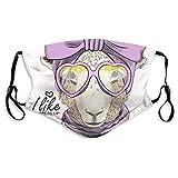 Oveja violeta turbante gafas bufanda sola belleza moda lavable filtro de polvo reutilizable y reutilizable boca con carbón activado resistente al viento
