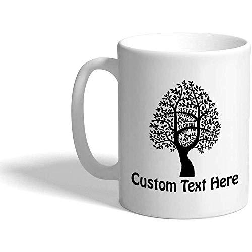 Taza de café personalizada 330 ml Hermanas Flores diferentes del mismo jardín Familia Amigos Taza de té de cerámica Texto personalizado