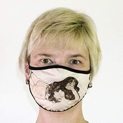 """XL Mund-Nasen-Schutz für Männer - stylisch im Kunst-Look: inspiriert von Egon Schiele\""""Liegende Frau\"""" sofort lieferbar - bei 60 Grad waschbar"""