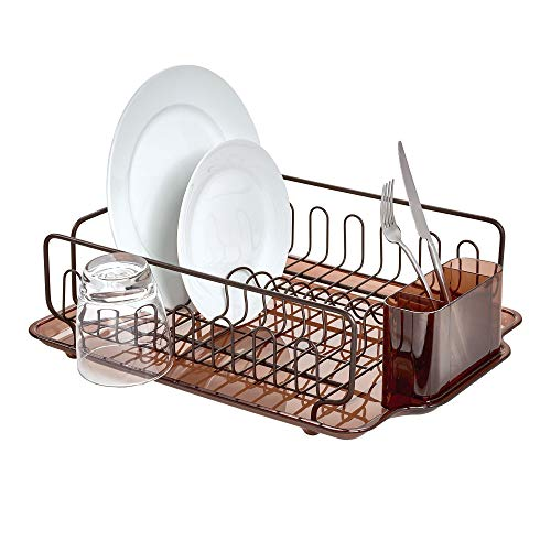 iDesign Forma Lupe Stainless Steel Metal Sink Dish Drainer Plastic Tray Kitchen Drying Rack for Glasses, Silverware, Bowls, Plates, Utensils, Set of 1, Bronze