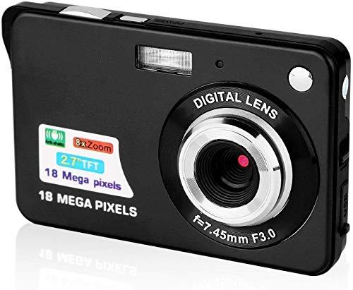 CamKing 2,7 Zoll Digitalkamera,Mini FHD 1080p Videokamera Taschenkameras Digita Kamera für Rucksacktouren,Kompaktkameras für Fotografie(Schwarz)