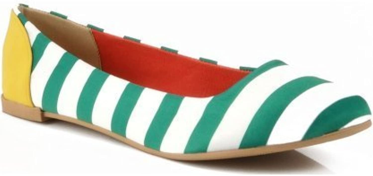 Qupid Salya-629 Striped Round Toe Ballet Flat