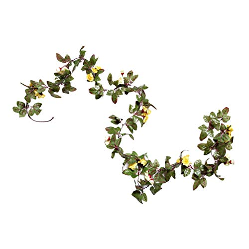 homozy Simulation Flower Vine Garland Hanging Decoration for Birthday Party/Wedding - Yellow White, as described