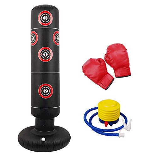 Boxing Bag Free Standing, Heavy Duty Target Stand Punch Bags with a Free Foot Air Pump and Gloves Punching Bag for Training Adult Children