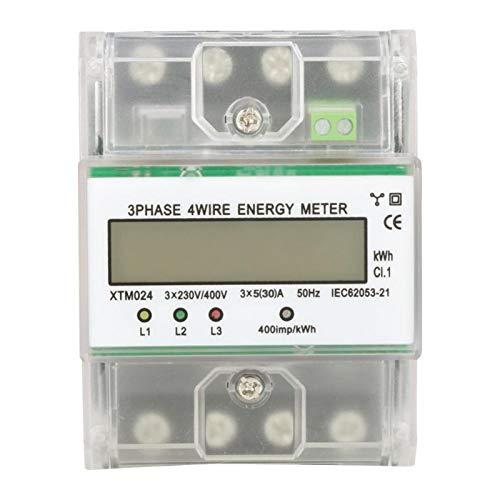 KWh-Zähler Digitaler 3-Phasen 4-Draht-Hutschienen-Stromzähler Elektronischer KWh-Zähler mit transparenter Abdeckung Digitale LCD-Produkte(5(30) A)