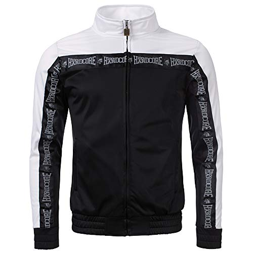 100% Hardcore Trainingsjacke Authentic, Black Techno Gabber Sportjacket reflective Logo-Stripes (M)